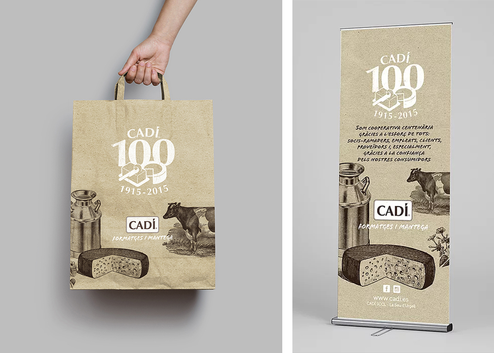 cadi_100anys_100_years_aniversary_corporate_cow_cheese_milk_craft_rollup_bag_graphic_design_