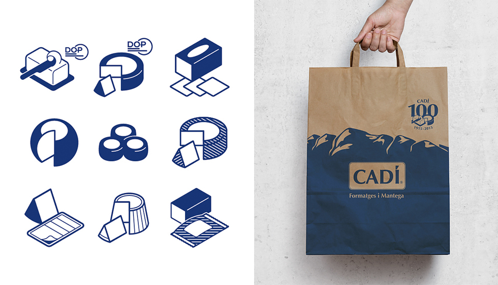 cadi_100anys_bag_paper_100_years_aniversary_corporate_cow_cheese_milk_craft_blue_pictogram_graphic_design_