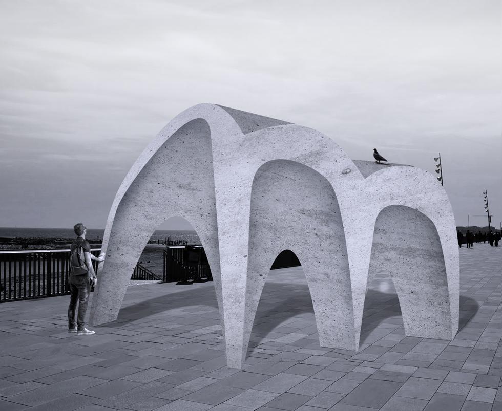 Disseny gràfic marca constructora Marino, escultura de la marca